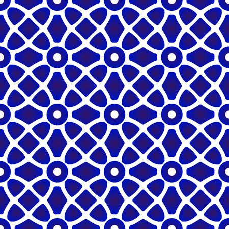 abstract porcelain pattern mosaic and ottoman style, ceramic seamless modern backdrop, blue and white pottery background, indigo wallpaper design, vintage tile decor, vector illustration