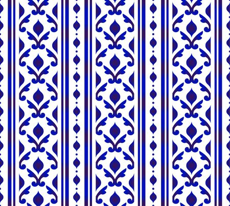 Cute blue and white pattern Arabic style, Seamless porcelain indigo, Beautiful ceramic background, floral backdrop for design floor, texture, fabric, paper, Islamic wallpaper decor vector illustration