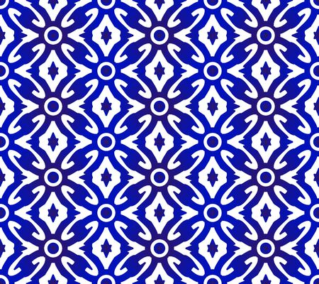 Islamic seamless background, indigo backdrop decor, blue and white modern pattern for design, porcelain, chinaware, ceramic, tile, texture, wall, paper, silk and fabric, vector illustration