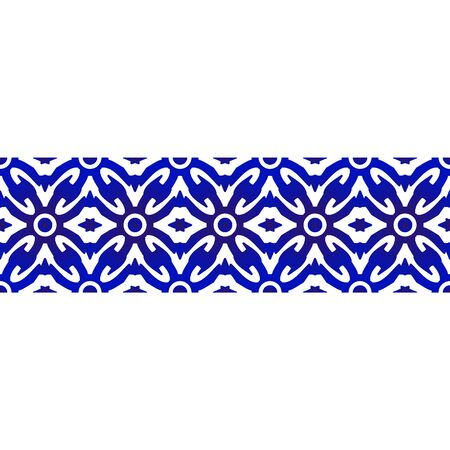 seamless borders ornament abstract indigo batik style, Imitation of porcelain painting, blue and white ceramic decorative line design, vector illustration Vettoriali