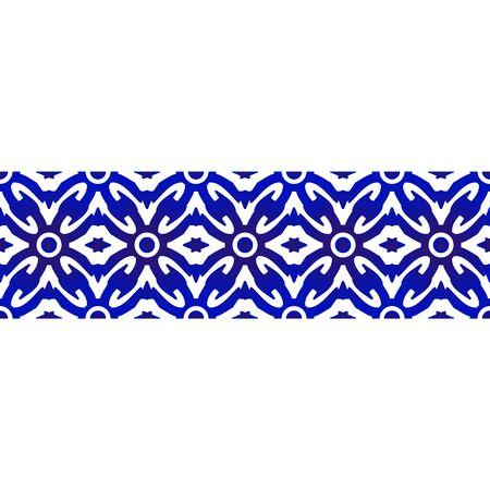 seamless borders ornament abstract indigo batik style, Imitation of porcelain painting, blue and white ceramic decorative line design, vector illustration Illustration