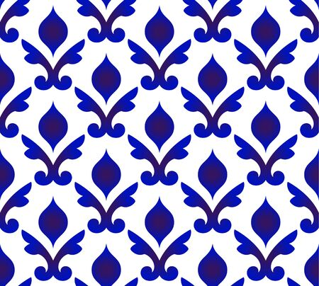 ceramic Thai pattern, Japan and China seamless porcelain blue and white modern background, pottery wallpaper indigo Islamic style, chinaware design, Silk and fabric texture decor, Gzhel design vector Vettoriali