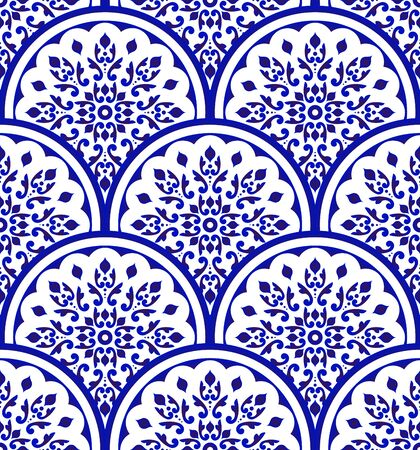 blue and white Chinese pattern with scale patchwork style, abstract floral decorative indigo mandala for your design, ceramic, tile, porcelain damask wallpaper seamless decor Gzhel vector illustration