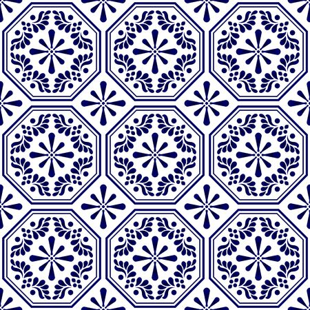 ceramic tile pattern vector, porcelain seamless background, blue and white floral backdrop decor, Portugal ornament, Moroccan mosaic, pottery folk print, Spanish tableware, decorative wallpaper design