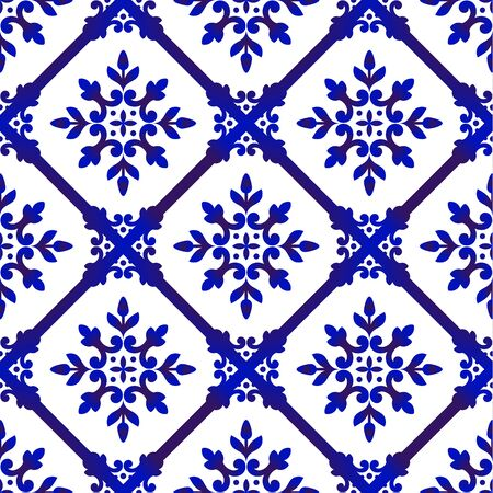 floral pattern, beautiful wallpaper baroque background, blue and white tile design, Spanish pottery, porcelain tableware, azulejos decorative ornament, Arabic seamless decor vector illustration