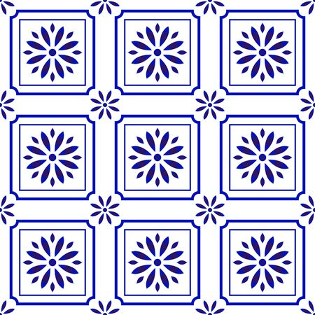 blue and white tile pattern, Azulejos Portugal ornament, Talavera ceramic decor, Moroccan mosaic, Spanish porcelain tableware, folk print, Spanish pottery, Mediterranean seamless background vector