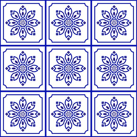 blue and white tile pattern, Azulejos Portugal ornament, Talavera ceramic decor Moroccan mosaic, Spanish porcelain tableware, folk pottery print, Mediterranean seamless background vector illustration