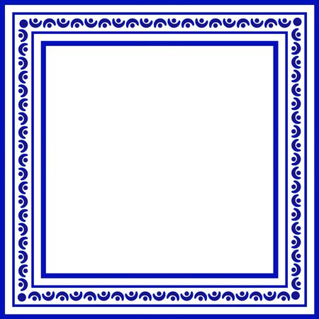 blue and white ceramic decorative square frame, cute porcelain ornament border pattern with navy blue, greetings card, porcelain indigo decorative art decor, vector illustration