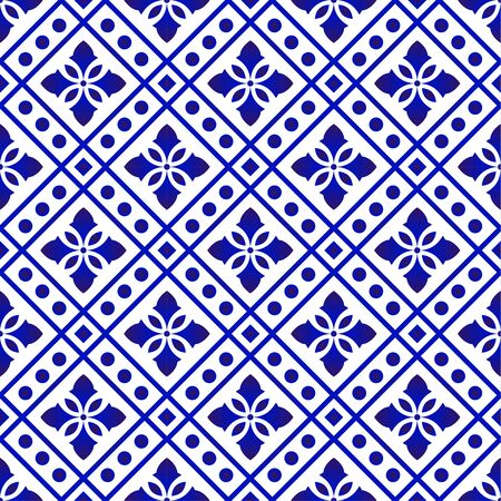Beautiful batik patterns Malaysia and India style, porcelain indigo seamless modern background, blue and white wallpaper ceramic decor, tile pattern, vector illustration Vettoriali