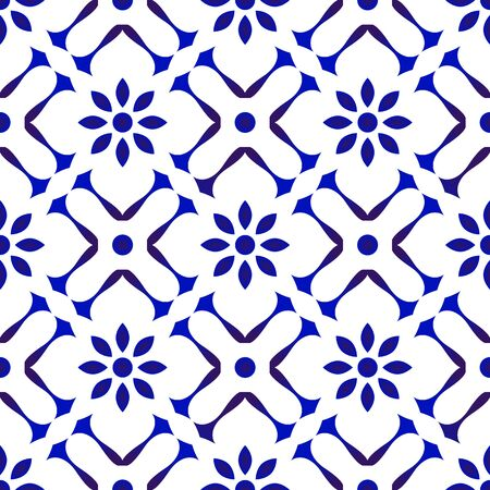 ceramic tile pattern, Porcelain background design, blue and white floral decor vector illustration Vettoriali