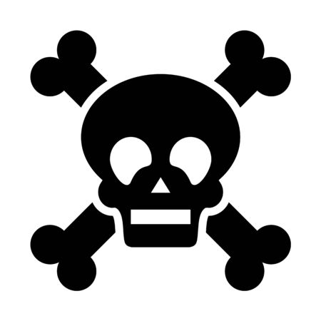 death icon, danger and warning sing, poison symbol, skull and bones vector illustration Vettoriali