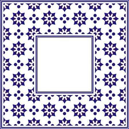 blue and white ceramic decorative square frame, beautiful porcelain ornament border pattern with navy blue flowers - invitation, greetings card, porcelain indigo decorative art frame, vector Vettoriali