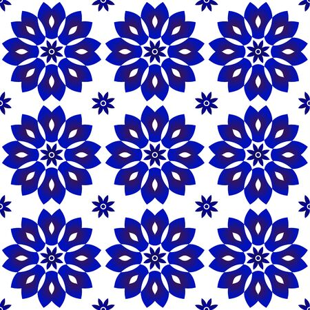 Floral indigo ornament backdrop, blue and white ceramic tile decor, cute porcelain seamless background, beautiful pattern for design, ceiling, texture, wall, paper and fabric, vector illustration