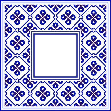 blue and white ceramic decorative square frame, beautiful porcelain ornament border pattern with navy blue flowers - invitation, greetings card, porcelain indigo decorative art frame, vector Illusztráció