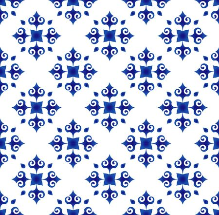 abstract flower tile pattern blue and white , Porcelain background, ceramic seamless design, pottery decor vector illustration