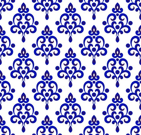 Floral ornament on watercolor backdrop Chinese style, blue and white ceramic tile pattern seamless vector illustration, cute porcelain background design damask style Ilustracje wektorowe