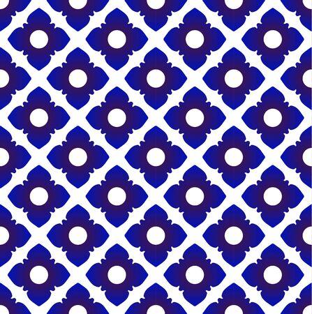 Seamless porcelain indigo blue and white simple art decor, wave pattern design Thailand style, chinaware background , ceramic backdrop, vector illustration Illustration