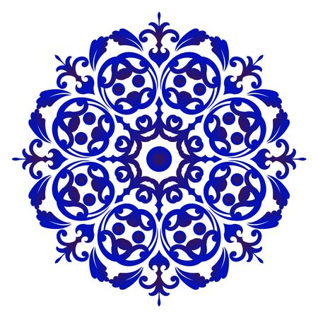 Mandala Pattern blue and white, Abstract vector floral ornamental border, ceramic watercolor background design, kaleidoscope, yoga, India, Arabic, damask porcelain,tile, gzhel, vector illustration Vettoriali
