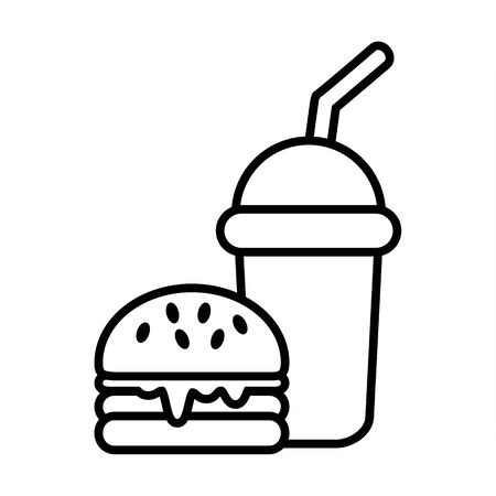 food and drink icon, fast food symbol vector illustration, restaurant sign outline for coloring book pages Çizim
