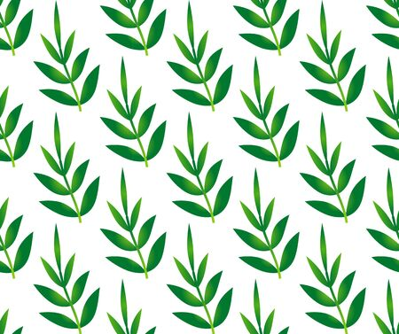 Bamboo leaves seamless pattern, green leaf background, vector illustration