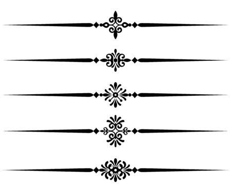 Colección de elementos de línea decorativa, hermosas reglas ornamentales diferentes para borde y página de diseño elegante, ilustración vectorial