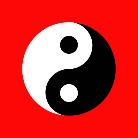 Yin-Yang-Symbol auf rotem Hintergrund, Taoismus-Symbol, Vektorillustration Vektorgrafik