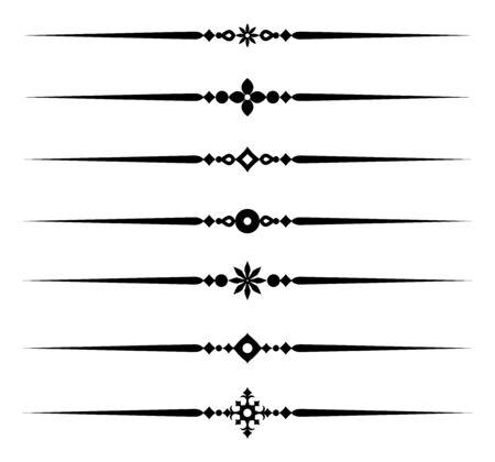 Raccolta di elementi di linea decorativi, bellissime regole ornamentali diverse per bordi e pagine dal design elegante, illustrazione vettoriale
