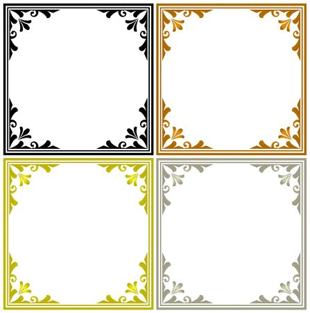Decorative frames vector set, black, gold, silver and Wood color, cute border for your design
