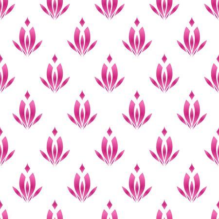 lotus pattern, cute pink flower seamless background, vector illustration