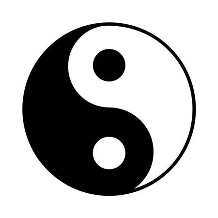Icône Yin Yang, symbole du taoïsme, illustration vectorielle