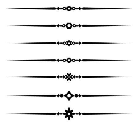 Sammlung dekorativer Linienelemente, schöne verschiedene dekorative Regeln für elegante Designgrenzen und -seiten, Vektorillustration