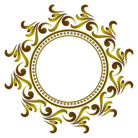 royal golden round frame, Decorative art frame, Abstract vector floral ornament border for your design