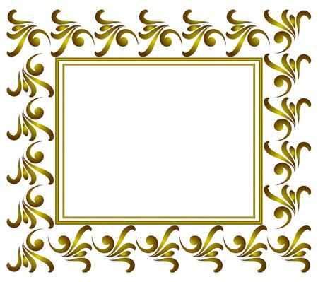 royal golden decorative art frame, Abstract vector floral ornament border for your design