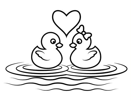 cartoon duck lover for coloring book page, cute couple animal outline swimming, Vector illustration