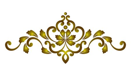 golden decorative element damask style , Beautiful floral royal template for your design, vector illustration