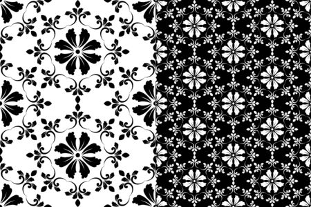 Abstract floral decorative pattern baroque and damask style, seamless black and white background texture, wallpaper ornament for design, vector illustration