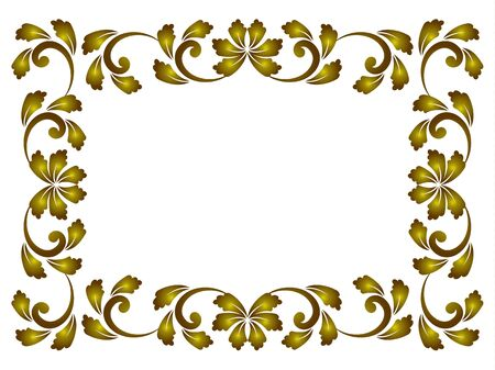 royal golden decorative art frame, Abstract vector beautiful floral ornament border for your design Stock Illustratie