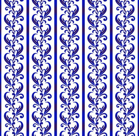Porcelain pattern, ceramic decorative background design, blue and white floral seamless decor, beautiful vines backdrop damask and baroque style, vector illustration