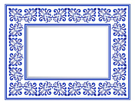 blue and white ceramic decorative square frame, beautiful porcelain ornament border, vector illustration