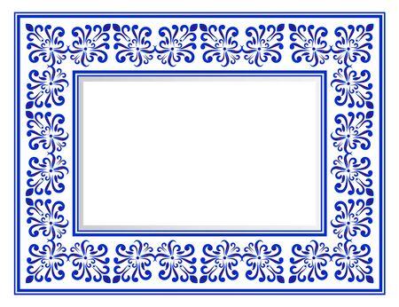 Dekorativer quadratischer Rahmen aus blau-weißer Keramik, schöne Porzellanornamente, Vektorillustration Vektorgrafik