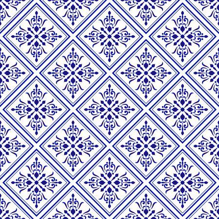 Keramikfliesenmuster, dekoratives Hintergrunddesign aus Porzellan, blaue und weiße Blumendekor-Vektorillustration, schöner Deckenhintergrund Damast und Barockstil