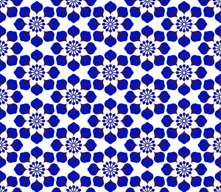 Abstract flower seamless background, porcelain pattern decor, cute Chinaware background, blue and white floral backdrop for design floor, wallpaper, tile, texture, fabric, paper, vector illustration Illustration