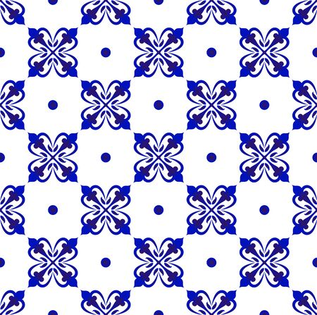 ceramic tile pattern, Seamless porcelain decor, cute Chinaware background Islamic style, blue and white floral backdrop for design floor, wallpaper, pottery, texture and fabric, vector illustration