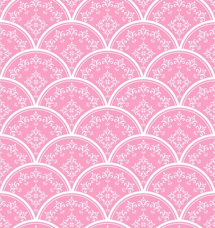 Wallpaper classic style of Baroque, seamless pink and white damask pattern, floral decorative background for design, texture, wall, fabric and silk, vector illustration