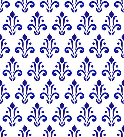 Abstract floral ornament backdrop damask style, seamless blue and white ceramic royal pattern, porcelain decorative vector background for design, tile, texture, wallpaper, fabric and silk 일러스트