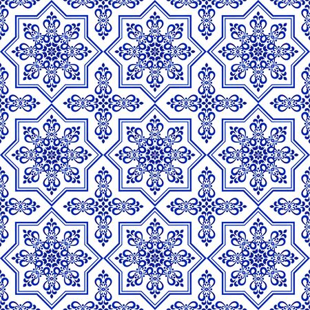 ceramic decorative tile pattern, Porcelain background design, blue and white floral decor vector illustration, beautiful ceiling backdrop
