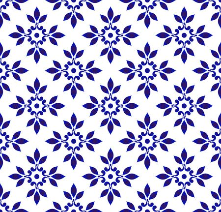 ceramic seamless pattern, blue and white porcelain background for design, chinaware, tile, ceiling, texture, wall, paper and fabric, decorative floral backdrop damask style, vector illustration