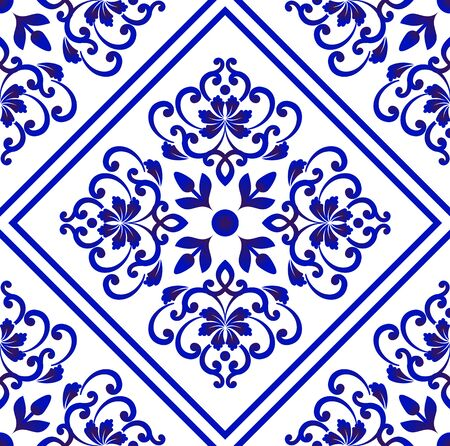 Porcelain wallpaper in baroque style, Damask floral background, blue and white vases flower ornament, simple decoration art, ceramic tile pattern seamless vector, Chinese machine design Vettoriali