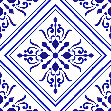 ceramic tile pattern, Porcelain decorative background design, blue and white floral decor vector illustration, beautiful ceiling backdrop damask and baroque style Vettoriali