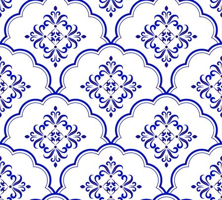 Wallpaper Baroque style, seamless blue and white damask pattern, floral ceramic decorative victorian background for design, porcelain, tile, texture, fabric and silk, vector illustration Vettoriali